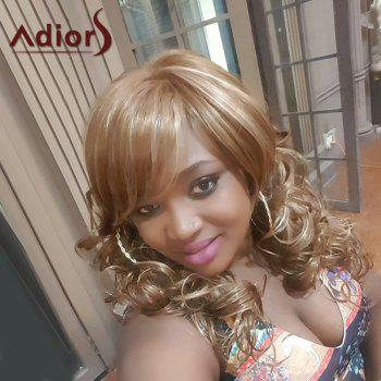 Adiors Long Mixed Color Oblique Bang Curly Synthetic Wig