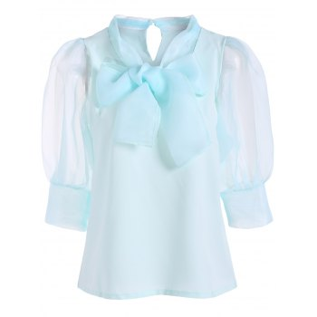 Pussy Bow Puff Sleeves Organza Paneled Blouse