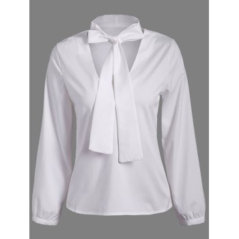 Pussy Bow Long Sleeves Blouse - WHITE WHITE