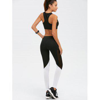 Mesh Panel Color Block Gym Suit - WHITE/BLACK L