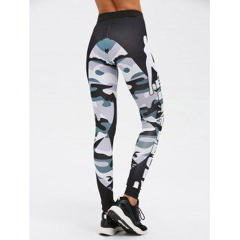 Insert Letter Camo Print Gym Leggings - CAMOUFLAGE COLOR CAMOUFLAGE COLOR