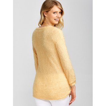 Drop Shoulder Long Fuzzy Sweater - APRICOT APRICOT
