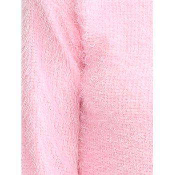 Drop Shoulder Long Fuzzy Sweater - PINK PINK