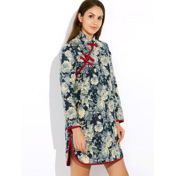 Floral Long Chinese Style Coat - GRAY GRAY