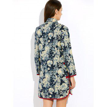 Floral Long Chinese Style Coat - XL XL