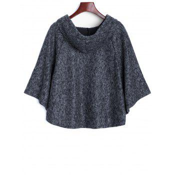Heather Hooded Poncho Cape - BLUE GRAY ONE SIZE