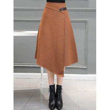 Midi Wool Blend Irregular Skirt