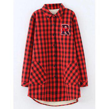 Plus Size Plaid Fleece Shirt Jacket