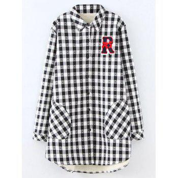 Plus Size Fleece Plaid Shirt Jacket