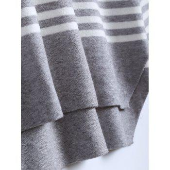 Crew Neck Striped High Low Pullover Sweater - GRAY ONE SIZE