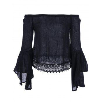 Lace Bell Sleeve Blouse - BLACK BLACK