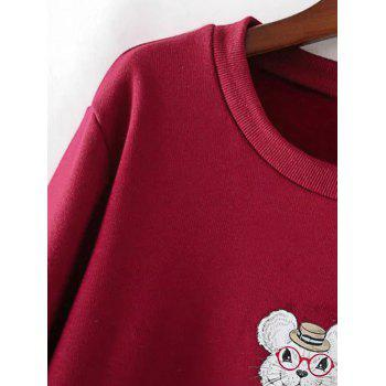 Plus Size Cartoon Print Fleece Sweatshirt - DEEP GRAY 3XL