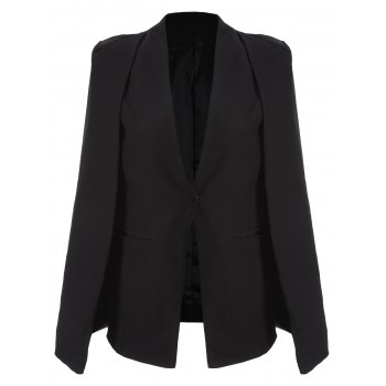 Vintage Couleur One-Button pur Cape Blazer - Noir XS