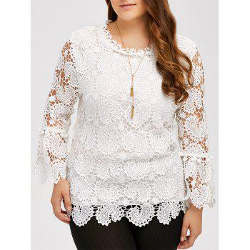 Plus Size Openwork Sheer Lace Blouse