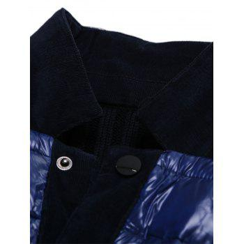 Snap Button Up Ribbed Insert  Jacket - ROYAL L