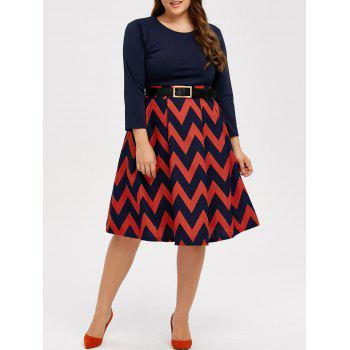 Plus Size Zigzag Plus Size Skater Dress - CADETBLUE XL