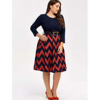 Plus Size Zigzag Plus Size Skater Dress - CADETBLUE CADETBLUE