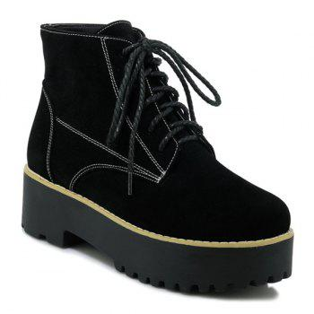 Round Toe Platform Tie Up Ankle Boots
