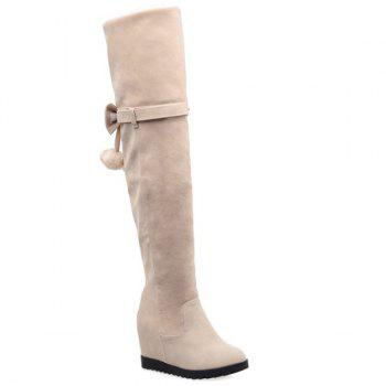 Pompons Hidden Wedge Bow Thigh Boots