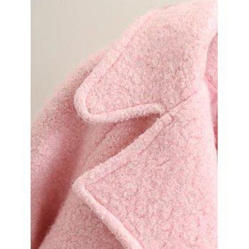 Long Double Breasted Wool Coat - PINK S