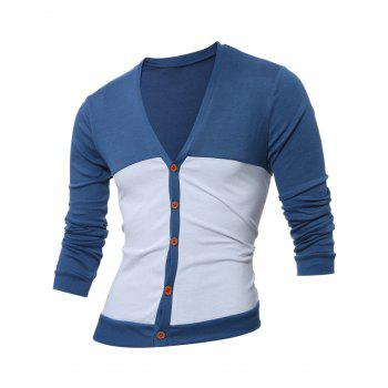 Button Up V Neck Two Tone Cardigan