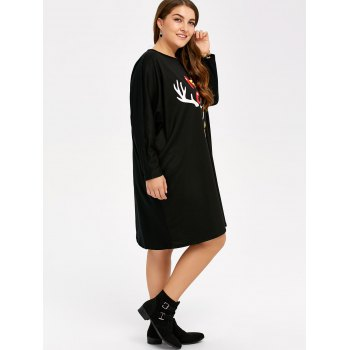 Casual Plus Size Long Sleeve Christmas Shift Dress - ONE SIZE ONE SIZE