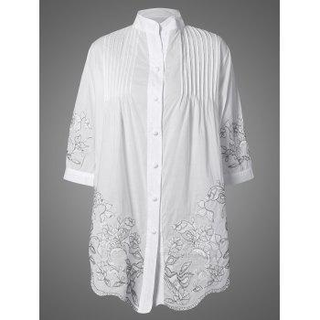Embroidered Pintuck Button Up Blouse