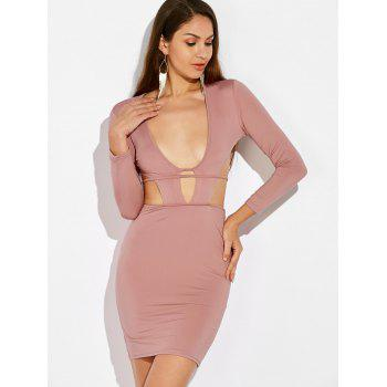 Cut Out Tie Back Bodycon Dress - NUDE PINK XL