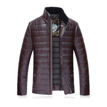Stand Collar PU Leather Plus Size Zip Up Down Jacket