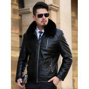 Detachable Faux Fur Collar Flocking Plus Size PU Leather Jacket