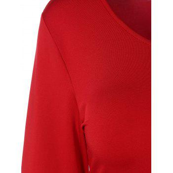 Patchwork Robe manches Flare - Rouge S