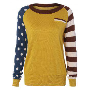 Polka Dot and Striped Sleeve Sweater