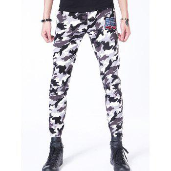 Camouflage Lace-Up Applique Beam Feet Nine Minutes of Jogger Pants