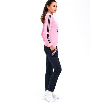 Striped A Graphic Pocket Design Sporty Suit - PINK PINK