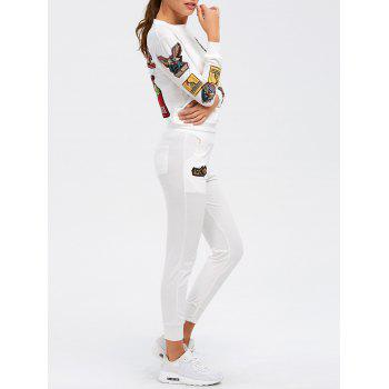 Patch Design Embroidered Sporty Suit - WHITE WHITE