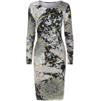 Long Sleeve Chrysanthemum Tree Branch Print Dress
