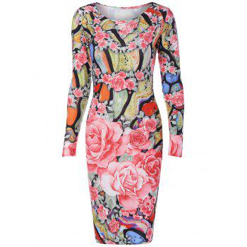 Long Sleeve Roses Print Dress
