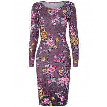 Long Sleeve Small Florals Print Dress