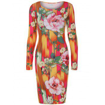 Long Sleeve Big Flower Hazy Print Dress