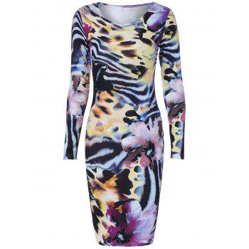 Long Sleeve Tiger Stripe Print Dress