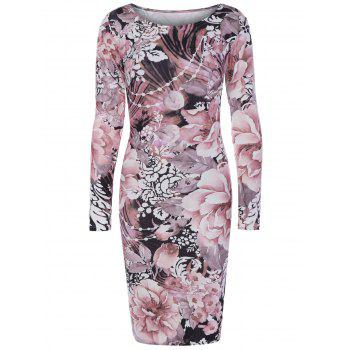 Long Sleeve Fulled Flowers Print Dress
