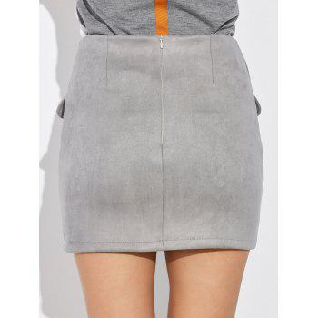 Criss Cross Faux Suede Mini Skirt - GRAY XL