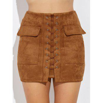 Criss Cross Faux Suede Mini Skirt