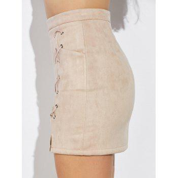 Double Criss Cross Bandages Faux Suede Skirt - NUDE XL