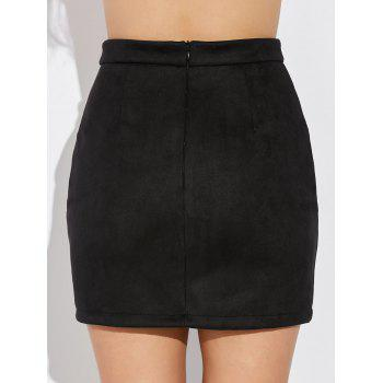 Double Criss Cross Bandages Faux Suede Skirt - BLACK L