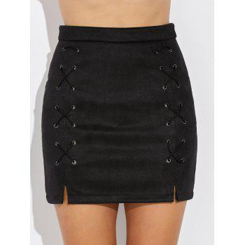 Double Criss Cross Bandages Faux Suede Skirt