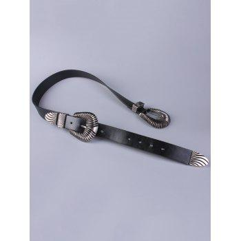 Coat Wear Double Shell Buckle Belt - BLACK