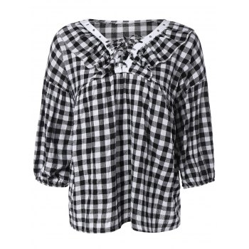 Puff Sleeve Lace-Up Plaid Blouse