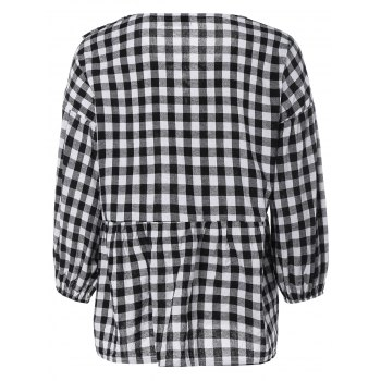 Puff Sleeve Lace-Up Plaid Blouse - PLAID PLAID