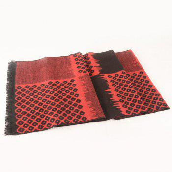 Hollow Square Pattern Fringe Scarf -  BLACK